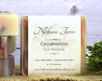 All Natural Goat Milk Soap - Cedarwood Goat Milk Soap - Handcrafted Soap - Natural Woodsman Soap - Soap for Men - Moisturizing Soap Bar