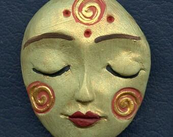 Spirit Doll Face  Polymer Clay  Tribal  Art Doll  Face  Cab  SD 5