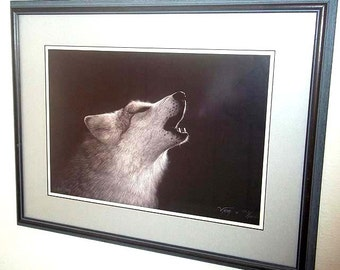 SALE - Matted & Framed Wolf Print by Cherokee Artist Donald Vann Into the Silence - Limited Edition