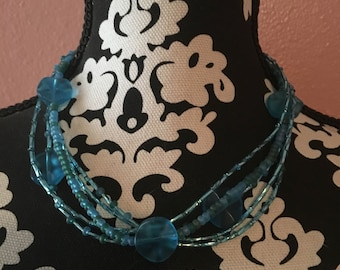 teal and turquoise 5 strand seed bead necklace