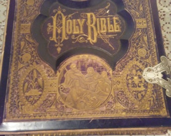 1881 Holy Bible dated December 1881 containing the Old & New Testaments Vintage Rare