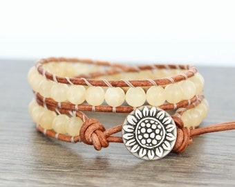 Yellow Beaded Bracelet, Sunflower Leather Wrap Bracelet, Boho Wrap Bracelet Beade, Yellow Calcite Bracelet, Yellow Wrap Bracelet • 2XYC015