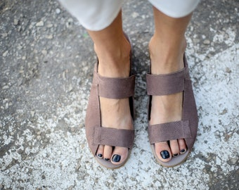 SALE, Brown Strappy Sandals, Brown Sandals, Leather Sandals, Slingbacks, Summer Shoes, Brown Summer Flats, Huaraches Sandals, Rocco