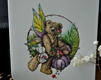 Packaged Note cards of Button Fairy Teddy Bear, Four blank cards with four white envelopes sealed in a archival envelope, tied raffia bow