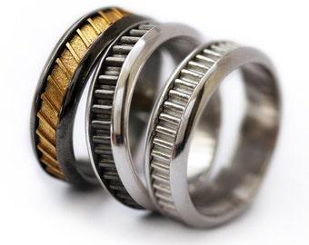 Wedding band set, man wedding ring-His Fine Silver Wedding, Engraved wedding band, Black silver ring, Unique silver ring, Handmade mens ring