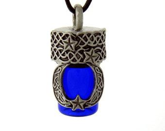 Celtic Moon and Stars Essential Oil Bottle Necklace Keepsake Bottle, Treasure Bottle, Prayer Bottle,Memorial Urn,Cremation Jewelry Necklace