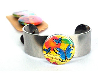 Butterfly Cuff Bracelet - Magnetic Bracelet, Silver Cuff, Metal Cuff, Nature Cuff, Adjustable - Recycled by Polarity - Lori Portka