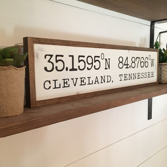 "LATITUDE LONGITUDE coordinates 6""x24"" sign 