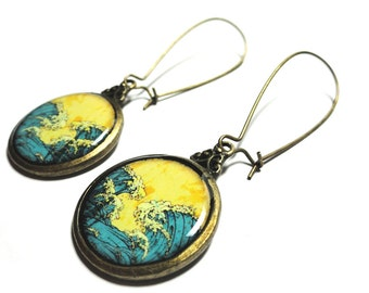 Great Wave Of Kanagawa, The Great Wave Earrings, Dangle Earrings, Resin Earrings, Handmade Earrings, Gift for Her, Handmade Jewelry, Summer