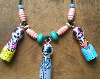 Day of the dead necklace * dia de los muertos * zombie * pendant * OOAK * Handmade jewellery