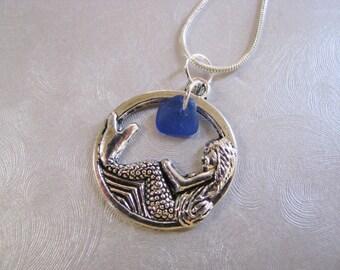 Child Sea Glass Pendant - Cobalt Blue - Mermaid Charm - Beach Glass Jewelry