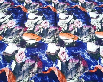 Purple and pink roses brushed twill fabric #1309