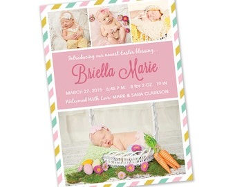 Easter Spring Photo Birth Announcement - Digital File You Print