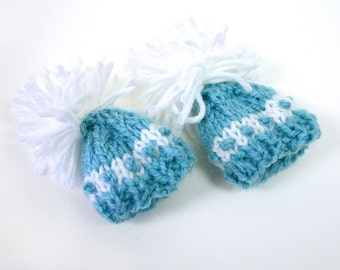 Turquoise Miniature  Hats- 2 Knitted Mini Beanies- Doll, Pets, Bears- 2 Inch Wide- Egg Cozies