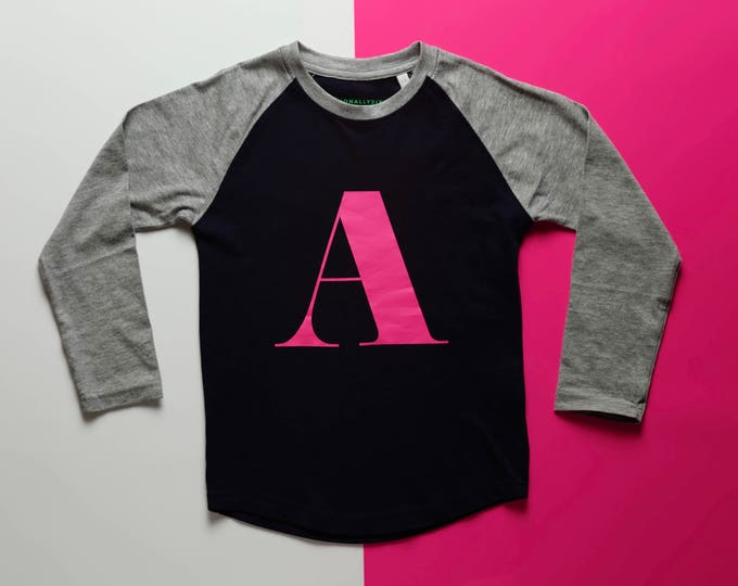 Featured listing image: Alpha T - Kids long sleeve baseball alphabet T-shirt