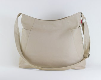 Beige Color Hobo Bag Two Large Pocket Canvas Shoulder bag Crossbody bag Accessories Handmade High Quality Vegan Bag Washable Extra Large Bag