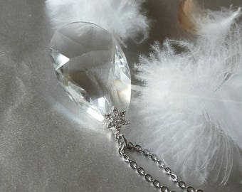 Genuine Crystal - Luxe Jewelry -Crystal Pendant Chain Necklace - Cubic Zirconia Bail -Statement Necklace -Clear Crystal - Elegant Gift -Chic