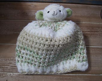 Crochet Baby Winter Lamb Hat sized to fit 6 to 12 months