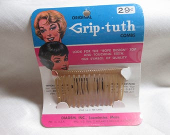 Antique Grip-Tuth Hair Comb Vintage Haircomb In Package