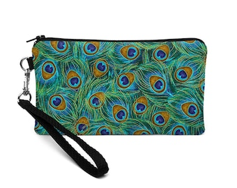 iPhone 8 Plus Wallet, Smartphone Wristlet Purse, Phone Clutch Bag, Smartphone Wristlet Clutch - green blue gold peacock feathers