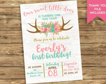 Boho Deer Birthday Invitation Invite Digital 5x7 Antlers Floral Flower Personalized ANY AGE