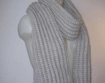 Knit scarf, long knit scarf, knit shawl, womens fashion accessory, chunky Knit scarf in gray, cozy softness, knit scarves