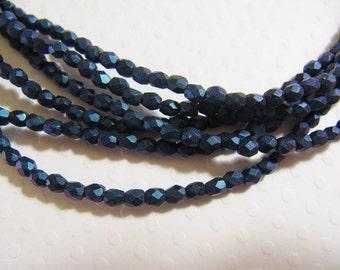 3mm Fire Polish Czech Glass Beads - Polychrome Denim - 50 beads