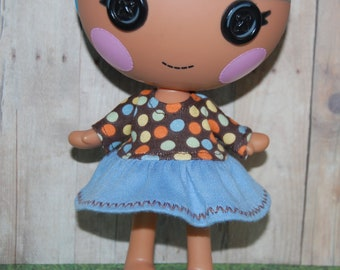 "Lalaloopsy Littles 7"" doll clothes - Brown Dots Long Sleeve Fall Dress - tkct108"
