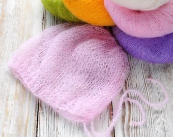 Newborn mohair Knit Bonnet, Photography Bonnet, Knit baby Bonnet, Mohair Bonnet, Newborn photography prop, Hand knit
