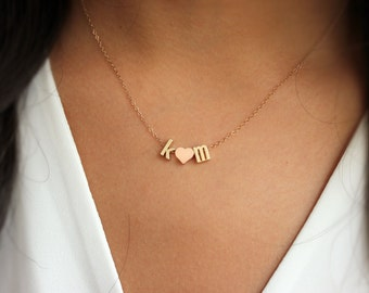 Initials Necklace, Love necklace, initial heart necklace, Couples necklace, Initial Necklace,  Gold Necklace