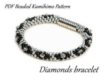 PDF Beaded Kumihimo Pattern - Diamonds Kumihimo bracelet – bead layout instruction tutorial