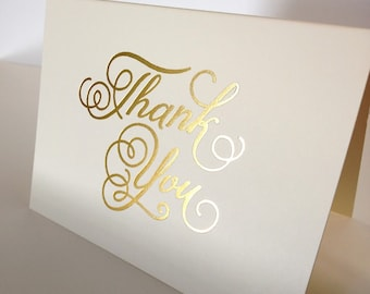 """Natural White-""""Thank You"""" Card, Gold Foiled"""