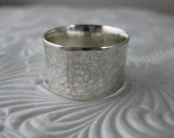 hammered silver wide band ring, sterling ring, silver band, wedding band, modern band, recycled silver, eco-conscious jewelry, sterling ring