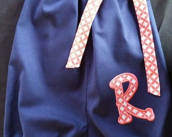 Navy Blue Pillow Case Bubble Romper / Sunsuit/ Personalized