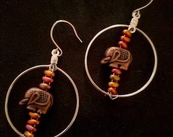Beaded bronze elephant hoop earrings