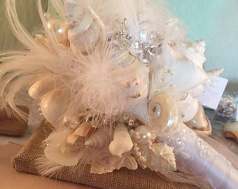 Xo bouquets feather seashell beach bouquet with boutonniere