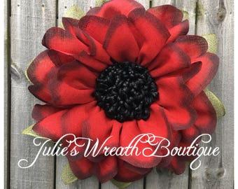 Burlap Wreath, Fall Burlap Wreath, Red Poppy, Front Door Wreath, Fall Decor, Red Burlap Wreath, Handmade Gift, Front Door Decor, Rustic