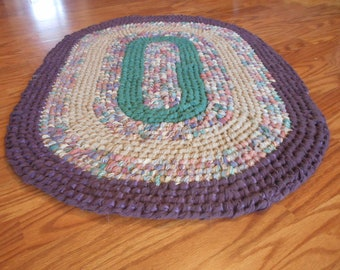 Oval Rag Rug Violet Green Recycled/Toothbrush Style, Amish Knot/Rag Rug/Oval Area Rugs