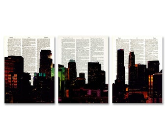 Los Angeles Skyline 3 pack dictionary prints Cityscape awesome upcycled vintage dictionary page book art prints