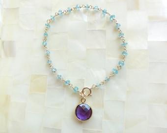 Faceted Blue Quartz Rondelle Vermeil Wire Wrapped Chain Bracelet with Round Vermeil Bezel Amethyst Charm Drop (B1204)