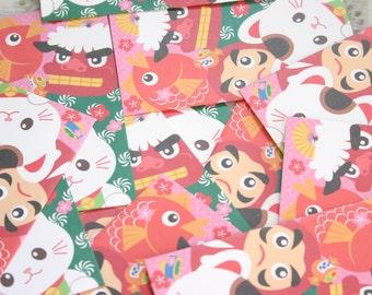 "Neko chan and friends - Japanese motif mini envelopes (5 envelopes 2.5"" x 4.75"" )"