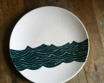 Ocean themed pottery, teal green water, ceramic plate by Jessica Howard
