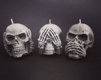 handmade soy tea light candles the three wise dead mini skull set