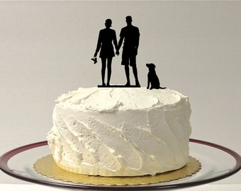 MADE In USA, Beach Couple + Dog Silhouette Wedding Cake Topper, Family of 3 Silhouette Wedding Cake Topper Bride and Groom Pet Beach Themed