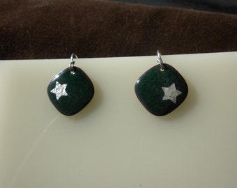 Deep Green Star Enamel Earrings