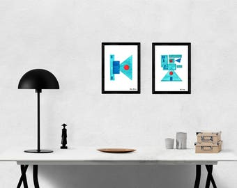 Inside and Outside, Giclée Print (watercolor, turquoise, red, turquoise, red, geometric)