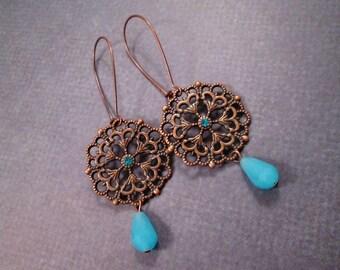 Long Drop Earrings, Filigree Pendants, Robins Egg Blue and Copper Dangle Earrings, FREE Shipping U.S.