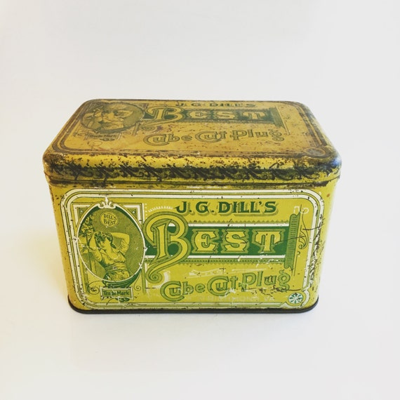 J.G. Dill's Best Cube Cut Plug Mustard Green/Yellow Antique 1920s Vintage Tobacco Tin Collectible Tobacciana