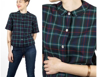Preppy Vintage 1950s Blue & Green Plaid Button-Up Shirt with Peter Pan Collar by Petti-gree | Small Medium