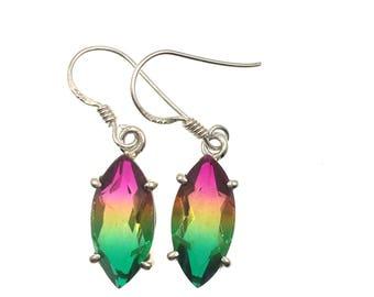 Multi Tourmaline Quartz Sterling Silver Earrings, Gemstone Earrings, Gemstone Jewelry, Tourmaline Earrings, Semi-Precious Stone Earrings